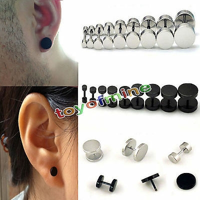 Barbell Dumbbell Men'sStainless Steel Stud Earrings 2Pcs