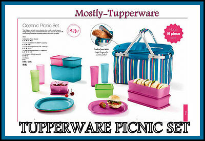 BNIP Tupperware 16 Piece Oceanic Picnic Set with Insulated Basket - 2016 RELEASE