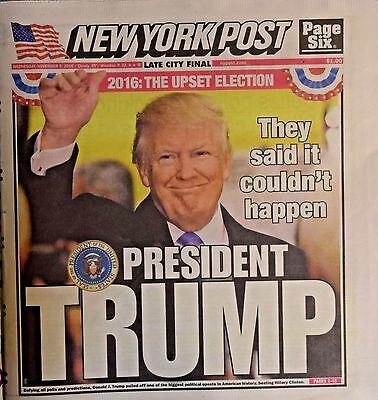Donald Trump Wins Elected President Historic Win New York Post 11-9-2016