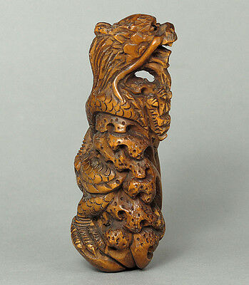 Japanese 1940's Netsuke Boxwood Wood Handcrafted Dragon Carving WN652
