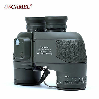 USCAMEL® 10x50 HD Military Binoculars with Rangefinder Compass Telescope Army