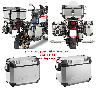 Givi Outback Rt 37/Left 48 Ltr SIL (2) & PL1144CAM for 16 Africa Twin CRF1000L