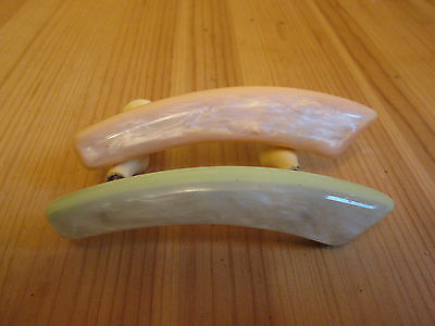 "2 odd DRAW HANDLE PLASTIC green,cream with white marbling 3 7/8"" long"