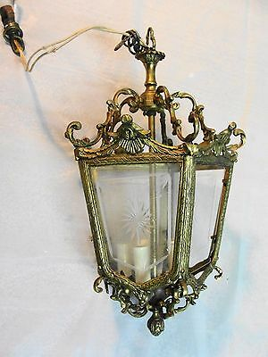 Vintage Ornate Brass 5-Light Ceiling Fixture Lamp w/glass needs restore