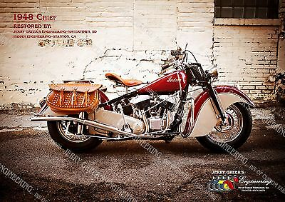 """1948 Indian Chief Motorcycle, Restored, 24"""" X 17"""", Poster, JG-4327, Jerry Greer"""