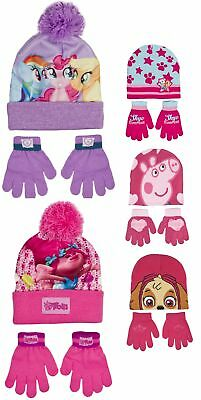 Girls Character Stretch Knitted Beanie Hat And Gloves Set Kids Warm Winter Gift