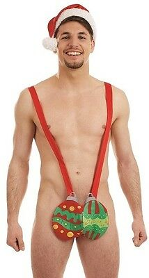 Mens Jingle My Baubles Mankini Xmas Christmas Fancy Dress Costume Outfit & Hat