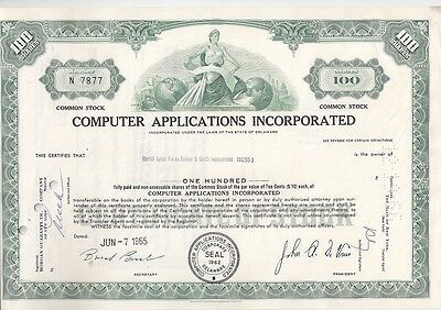 Computer Applications Incorporated....1966 Stock Certificate