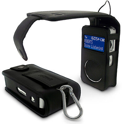 Black Genuine Leather Case for Roberts Sports DAB 6 Radio Cover Holder Pouch