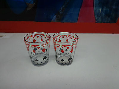 2 Vintage Schwartz Mustard Jars Poker Glasses Card Suits