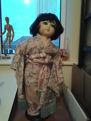 Beautiful Japanese Vintage Porcelain Doll On Stand