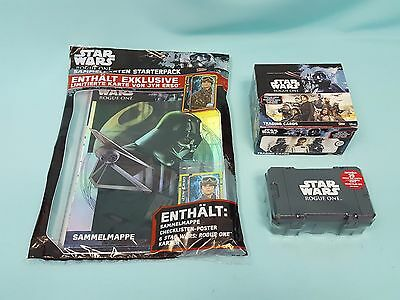 Topps Star Wars Rogue One  Starterpack  + 1 x Display + Collector Box Sammelbox