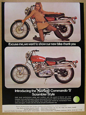 1969 Norton Commando 750 S Scrambler motorcycle color photo vintage print Ad