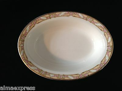 "Homer Laughlin Empress China E1315M Pink Roses Gold - 8-3/4"" OVAL SERVING BOWL"