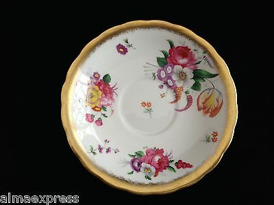 Royal Chelsea China England Chintz Roses Tulip Gold Scalloped - TEA CUP SAUCER