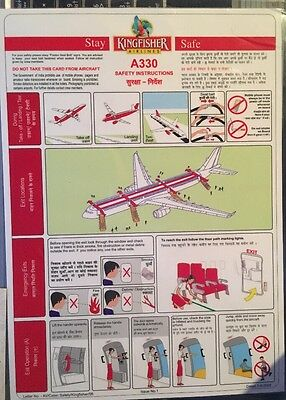 Safetycard Kingfisher Airlines A330, Dates 2-6-2008, Defunct