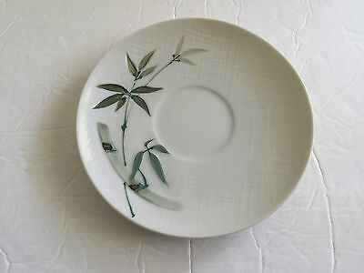 Japan China Bamboo Pattern White Green Handpainted - TEA CUP SAUCER