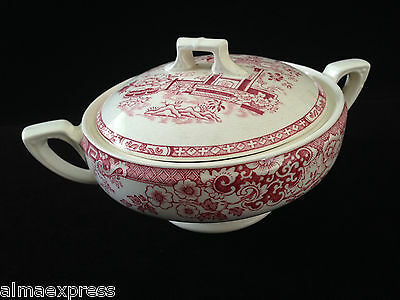 Rare Myott Staffordshire England China RED Indiana - SUGAR BOWL W/ LID, LIDDED