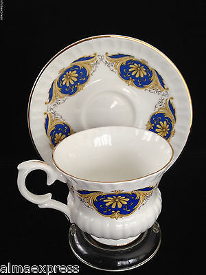 Crown Staffordshire China England White Gold Blue Crest TEA CUP & SAUCER SET