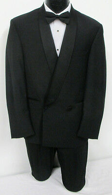 Black Calvin Klein Double Breasted Shawl Tuxedo Jacket Wedding Prom Formal 40R