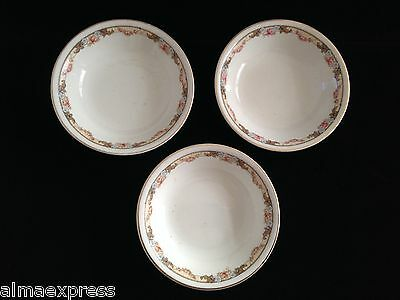 Lot of 3 KT&K Knowles Taylor Ivory Semi Vitreous China Roses Yellow DESSERT BOWL