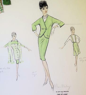 1965 Original Moss Mabry Signed Costume Sketch Gila Golan Green Outfit