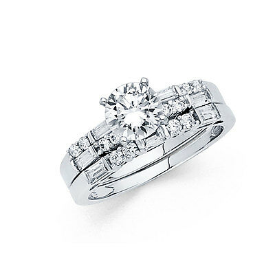 14k Solid White Gold 2.0 CT Diamond Ring Set Engagement Ring with Wedding Band