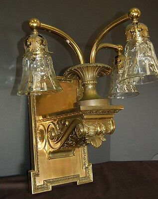 Large Vintage Brass 3 bulb sconce with ornamental corbel base & crystal shades