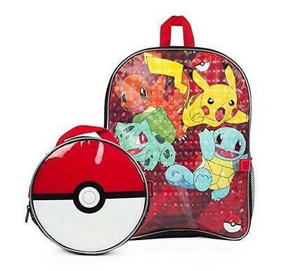 "Pokemon 16"" Large School Backpack +  Poke ball Insulated Lunch Box Bag Kit!"