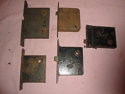 5  Vintage  Brass Door Lock Mechanism