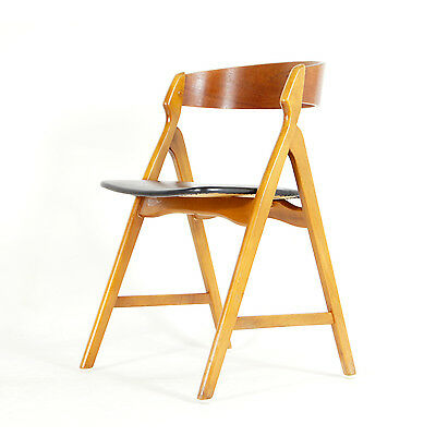 Retro Vintage Danish Beech & Teak Leatherette Desk Office Chair Armchair 60s 70s