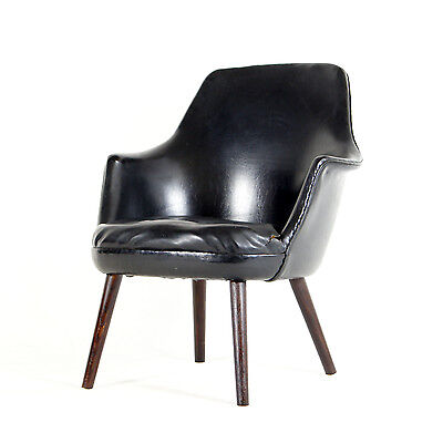 Retro Vintage Danish Rosewood Faux Leather Cocktail Side Chair Armchair 50s 60s
