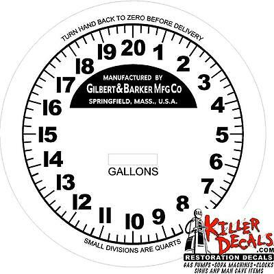 "6"" Round G&b Model 67 Dial Gas Pump Oil Tank Decal"