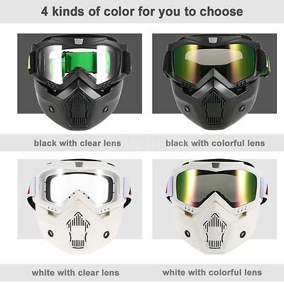 Mortorcycle Detachable Goggle Face Mask Mouth Filter For Open Face Helmet U4W3