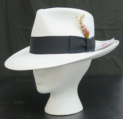 41f831f519859c New White Fedora Zoot Hat w/ Black Band Trilby Wide Brim Made in USA Prom