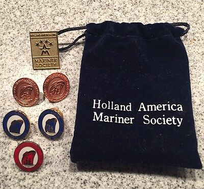 Vintage Holland America Line Mariner Society Pin Collection Pouch 25 50 100