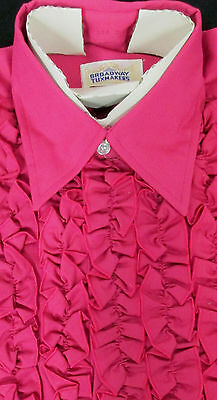 True Vintage Fuchsia Red Pink Ruffled Front Tuxedo Shirt Small(14-14.5) 32