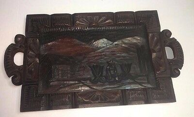 Vintage Hand Carved Wood Tray with Glass Top Serving Tea Tray