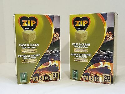 Zip Firestarters 2 Boxes Of 20 = 40  Fast & Clean 100% Natural Odorless Powerful