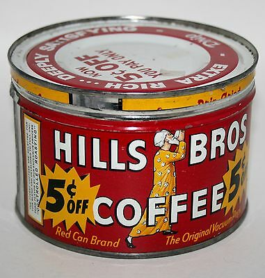 Rustic Vintage Hills Bros Coffee 1 Lb. Tin Can