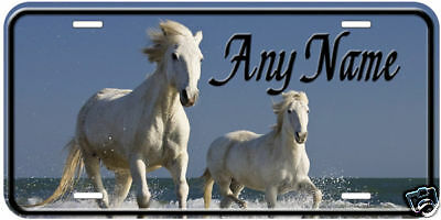 White Horses Running Any Name Personalized Car Auto License Plate