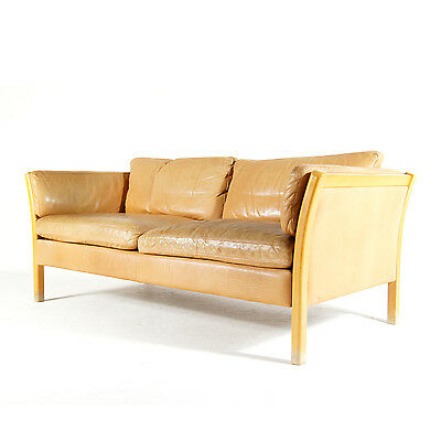 Retro Vintage Danish Stouby Design 2 3 Seat Seater Beech & Leather Sofa 60s 70s