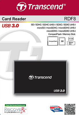 Transcend USB 3.0 Super Speed Multi-Card Reader for SD/SDHC/SDXC/MS/CF Cards NEW