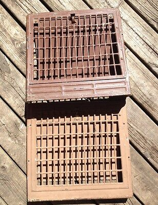 Vintage Antique Farmhouse Floor/Wall Heat Air Register Vents Old Set of 2