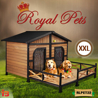 NEW Pet Dog XXL Kennel Wooden House Home Outdoor Box Large 2 Two Door Waterproof