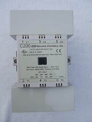 New ACI Advance Controls Inc. C200 Contactor Non Reversing 3 Pole AC Coil