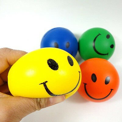 1PC Happy Smile Face Hand Wrist Exercise Stress Relief Therapy Squeeze Ball Toy