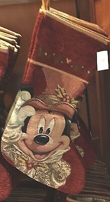 Disney Parks Victorian Mickey Mouse Tapestry Christmas Stocking - New
