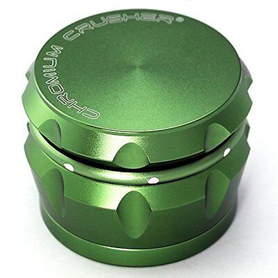 Chromium Crusher Drum 2.5 Inch 4 Piece Tobacco Spice Herb Grinder Groovy Green