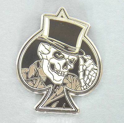 Ace Of Spades Top Hat Skull Lapel Badge Enamel & Nickel Plated With 1 Pin Biker